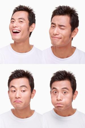 winking: Montage dell'uomo tirare diverse espressioni