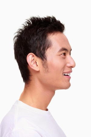Side view of man smiling photo
