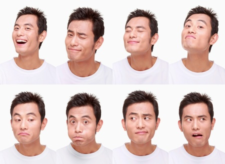 puffed cheeks: Montage of man pulling different expressions