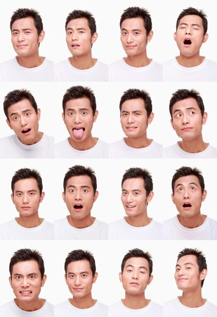 Montage of man pulling different expressions photo