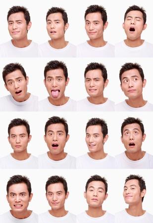 molesto: Montaje de hombre tirando de diferentes expresiones