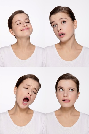 Montage of woman pulling different expressions Stock Photo - 9901061