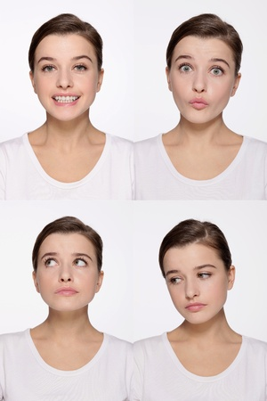 Montage of woman pulling different expressions Stock Photo - 9901056