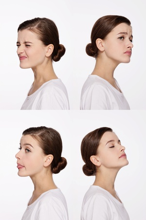 grimacing: Montage of woman pulling different expressions