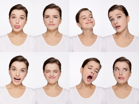 Montage of woman pulling different expressions Stock Photo - 9901046