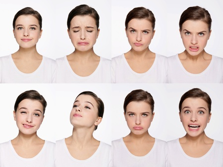 clenching teeth: Montage of woman pulling different expressions