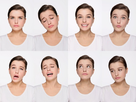 Montage of woman pulling different expressions Stock Photo - 9901054