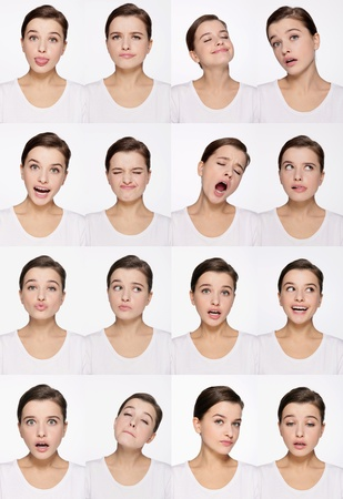 Montage of woman pulling different expressions Stock Photo - 9901035