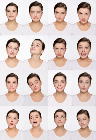 Montage of woman pulling different expressions 版權商用圖片