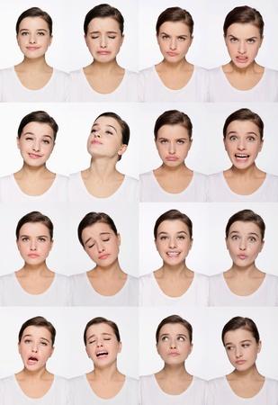 rgern: Montage von Frau ziehen verschiedene Ausdr�cke