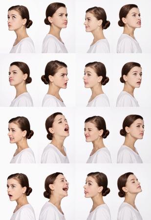 Montaje de mujer tirando de diferentes expresiones