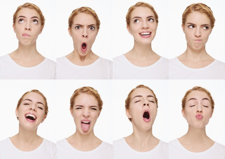 puckering: Montage of woman pulling different expressions