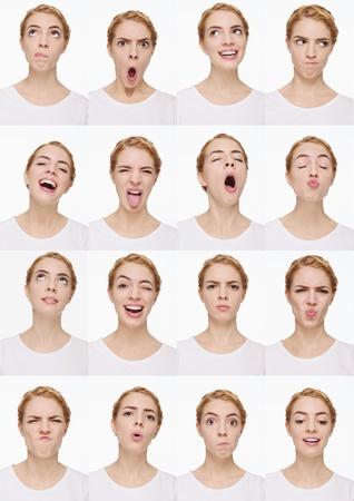 molesto: Montaje de mujer tirando de diferentes expresiones