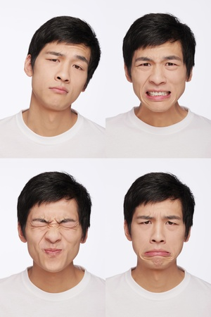uncomfortable: Montage of man pulling different expressions