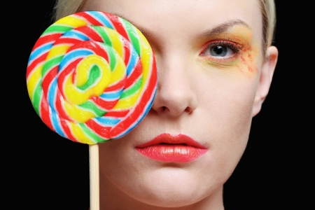 british ethnicity: Woman with lollipop