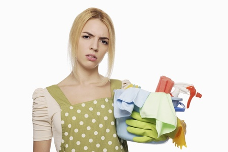 Woman with a pail of cleaning products Stock Photo - 9957531