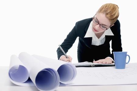 Businesswoman writing on organizer photo