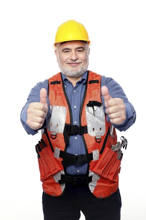 Man with hardhat showing thumbs up photo