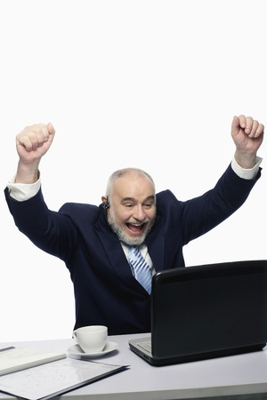 Businessman raising his arms while using laptop