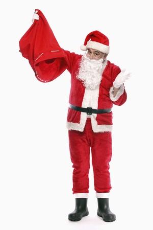 sack background: Santa claus pouring out his empty sack Stock Photo