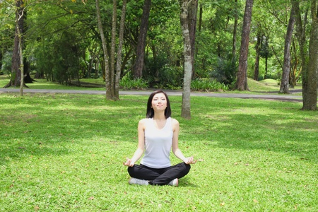 Woman practising yoga in the park Stock Photo - 9957900