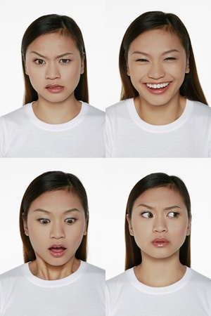 Montage of woman pulling different expressions Stock Photo - 9957665
