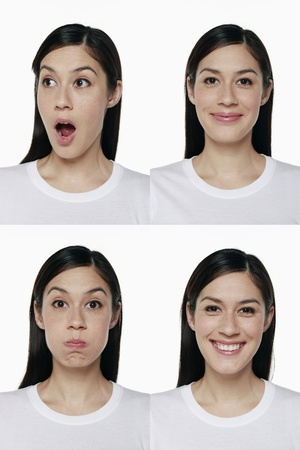 puffed cheeks: Montage of woman pulling different expressions