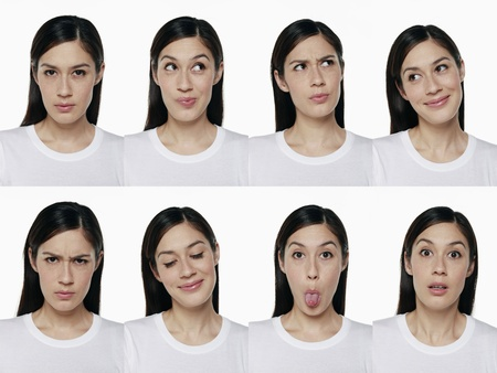 Montage of woman pulling different expressions Stock Photo - 9957792