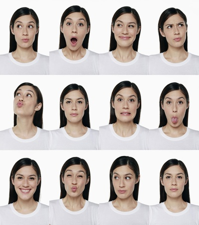 Montage of woman pulling different expressions Stock Photo - 9957824