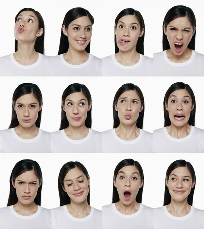 Montage of woman pulling different expressions Stock Photo - 9957786