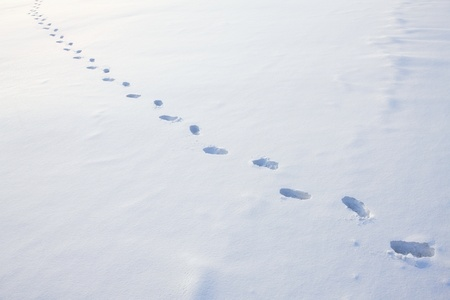no snow: Trail of footprints in snow Stock Photo
