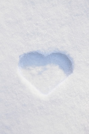 no snow: Heart-shaped print in snow