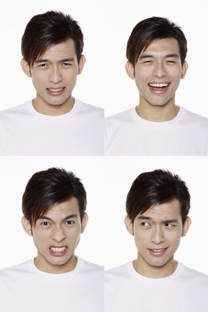 man front view: Montage of man pulling different expressions