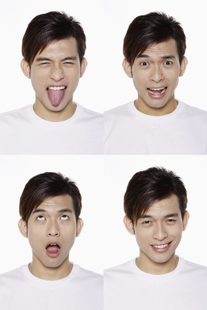 teasing: Montage of man pulling different expressions