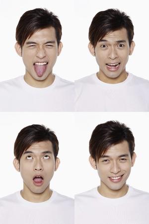sacar la lengua: Montaje de hombre tirando de diferentes expresiones