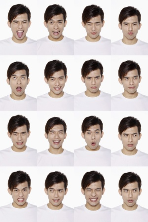 Montage of man pulling different expressions Stock Photo - 10057707