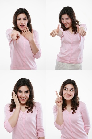 Woman with various expressions photo