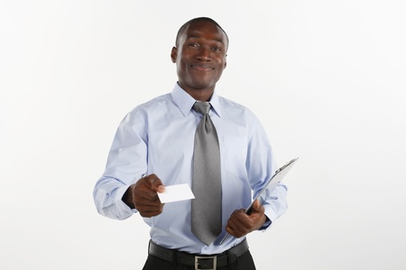 Businessman giving business card photo