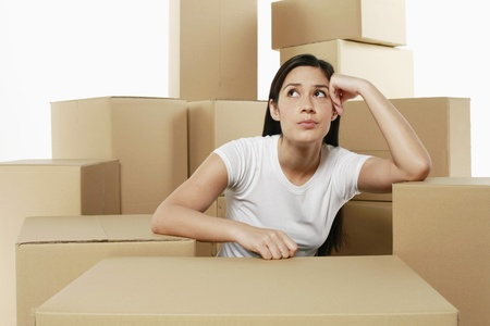 moving images: Woman thinking Stock Photo