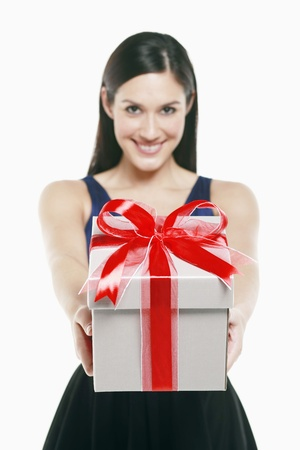 Woman with a box of gift photo
