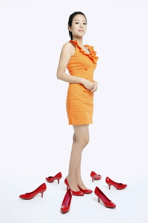 Woman with shoes on the floor Stock Photo - 10861977