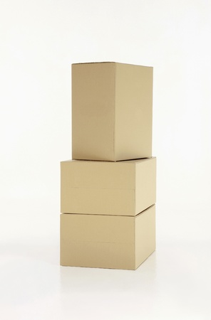 A stack of cardboard boxes photo