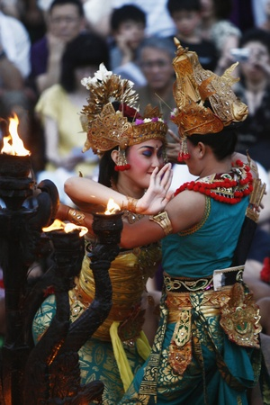 Bali, Indonesia - May 27 2011 : Performance of the famous Balinese Kecak dance