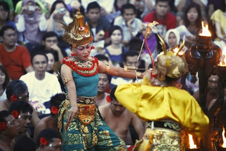 kecak: Bali, Indonesia - May 27 2011 : Performance of the famous Balinese Kecak dance Editorial