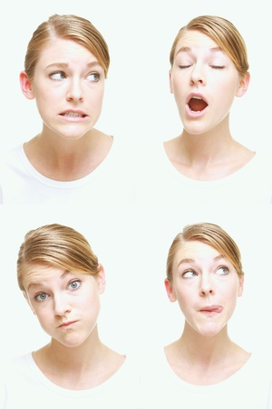 sideways glance: Montage of woman pulling different expressions