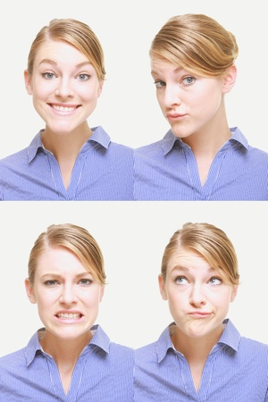 Montage of woman pulling different expressions Stock Photo - 13149104