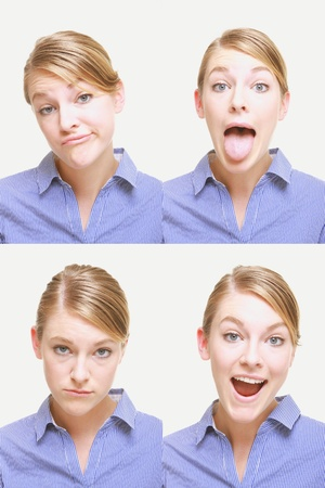 sticking tongue: Montage of woman pulling different expressions