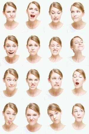 yawning: Montage of woman pulling different expressions