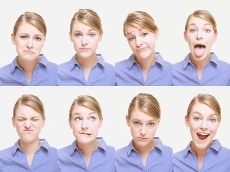 lengua afuera: Montaje de la mujer tirando de diferentes expresiones