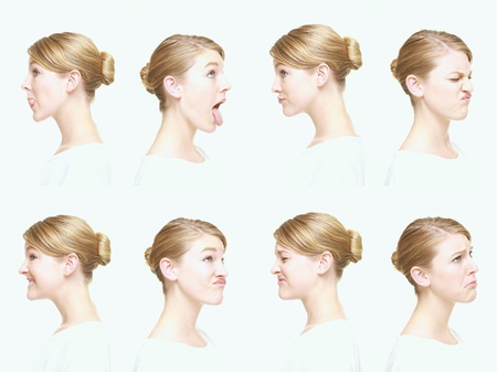 making a face: Montage of woman pulling different expressions